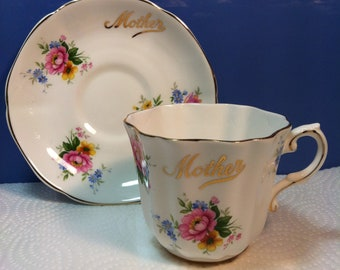 Mother teacup and saucer set Vintage Royal Grafton Fine Bone china made in England Scalloped edges gold trim pink yellow roses w blue floral
