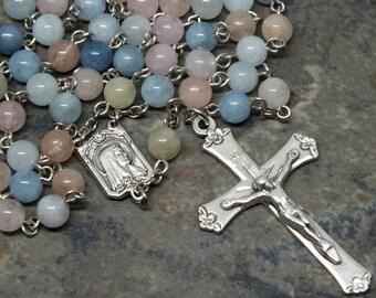 Edelstein-Rosenkranz Multi Farben von Beryll, Aquamarin und Morganit, 5 Gesätze Rosenkranz katholischen Rosenkranz, Fatima Rosary einschließlich