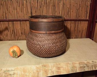 Large Vintage Japanese Ikebana Bamboo Basket Flower Arrangement