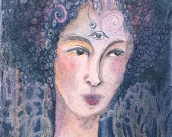 Goddess of Sight Blue watercolor ACEO- Original art to support your aesthetic