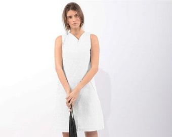Simple wedding dress - White Party dress  - midi dress - white knee length dress - white summer dress