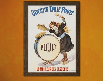 Biscuits Emile Poult 1900 Advertising Print - Retro Kitchen Decor Biscuit Poster Kitchen Vintage Decor t