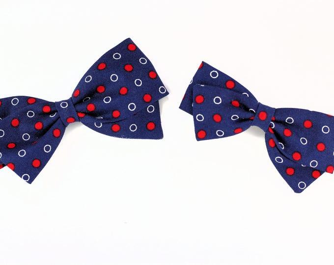 Fabric Hair Clip  -  Blue white and blue hair bow - nylon headband or clip