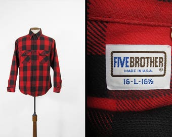Vintage Five Brother Flannel Shirt Buffalo Plaid Red Cotton Long Sleeve Made in USA - Size Large