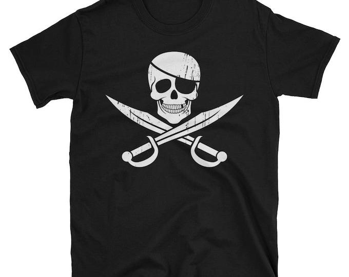 Pirate Flag Short-Sleeve Unisex T-Shirt. shirt, tshirt, tee, gift, piracy, jolly roger, skull, bones, skull and bones, cross, crossbones,