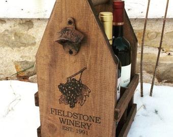 Custom Wood Wine Carrier Crate for 4 750ml Bottles
