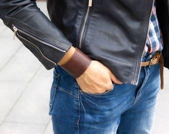 BROWN leather band cuff bracelet, tattoo cover up, boho style leather cuff, leather bracelet, fashion women accessories, women bracelets