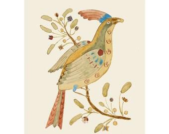 "Folk art frameable greeting card print, ""Bird With Berry"""