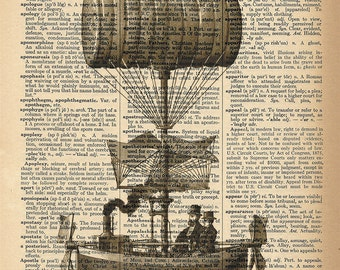Dictionary Art Print - Steampunk Air Ship - Upcycled Vintage Dictionary Page Poster Print - Size 8x10