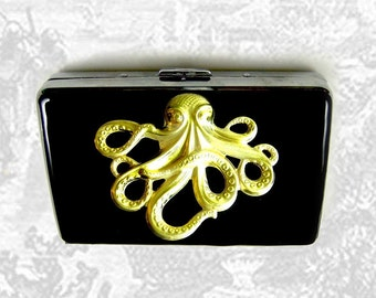 Metal Accordion Wallet with Card Organizer Steampunk Octopus Inlaid in Hand Painted Enamel Kraken Custom Colors and Personalized Options