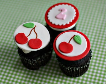 Fondant Cherry and Age or Monogram Toppers for Cupcakes, Cookies or Mini-Cakes