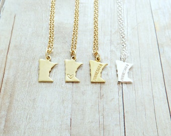 Minnesota State Charm Personalized Necklace (Gold or Silver)