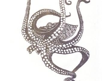 Octopus Linocut - Lino Block Print Octopus, Ocean Animal Art, Tentacles, Octopus Print