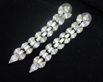 Long Rhinestone Earrings - Vintage Bridal, Wedding, Pierced Dangles Vintage Earrings for Women