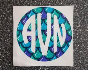 SALE - 3 Inch Mermaid Print Monogram Vinyl Decal