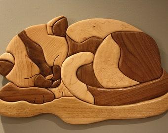 Natural Wood Cat Intarsia