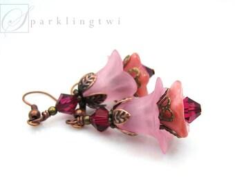 Lucite Earrings, Long Drop Earrings, Pink Earrings, Flower Jewelry, Woodland Wedding, Long Pink Earrings, Gift for Her, Rose Earrings, SHARI