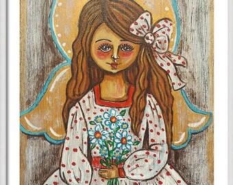 Little girl with flowers print Little girl wall art White angel Kids bedroom decor Girls room prints Nursery art Little girls room wall art