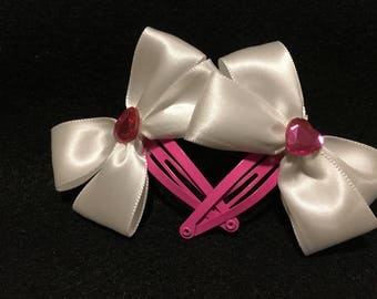 Double Bow Heart Barrettes