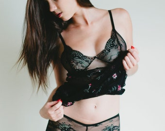 Panties - 'Honeysuckle' Style Sheer Black French Lace Panty - Custom Fit Made To Order Women's Lingerie