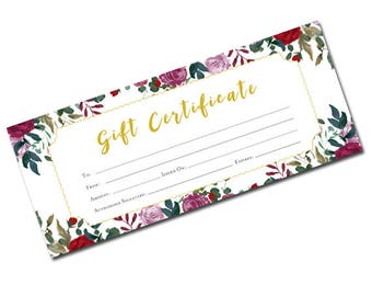 Flower Gift Certificate, Gift Certificate Template, Gift Certificate Printable,Gift Certificate,Gift Certificate Download,birthday gift,gift