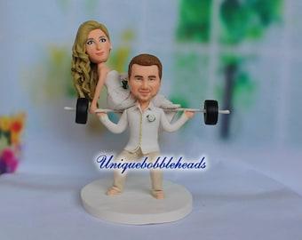 weightlifting wedding cake topper, grooms cake topper, sports wedding cake topper, custom wedding cake topper, personalized cake topper