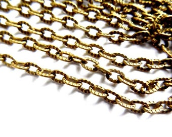 Antique Bronze Textured Link Open Cable Chain - 10M - 22-28-1