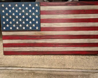 USA Wooden Flag, Wooden American Flag Wall Decor, American Flag On Wood Wall Art, American Flag Decor, Rustic Wood American Flag, USA Wooden
