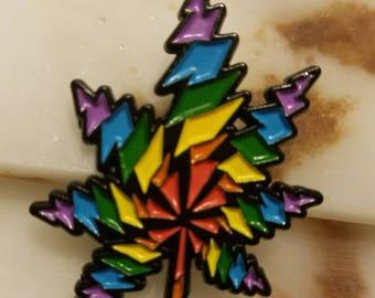 Rainbow Bolt Leaf Hat Pin!