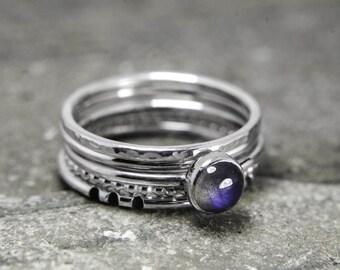 Stacking ring set, Labradorite stacking ring, 5 stacking rings, purple stone stacking rings, skinny stacking set