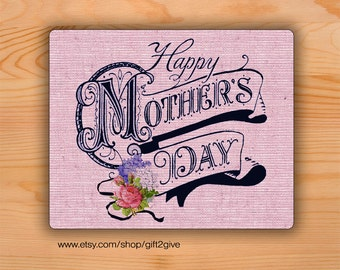 Mouse pad Mothers Day burlap background Mousepad