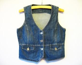 Blue Denim Vest Fitted Jeans Waistcoat Metal Buttons Womens Large Plus Size