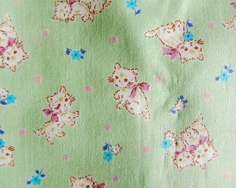 Japanese Fabric - Sweet Kittens on Baby Green - Half Yard - Kokka Fabric From Japan LIMITED YARDAGE