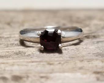 6mm Garnet in Sterling Silver Ring