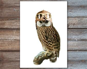 steampunk owl art, owl print, owl pilot hat, owl art print 8x10 or A4