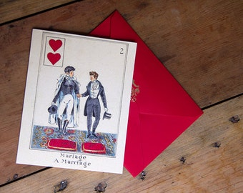 SALE A Marriage - A Gay Marriage Greeting Card Original Design by Felix dEon Art and Craft of Gay Love & Romance