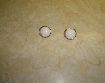 vintage clip on earrings goldtone white lucite