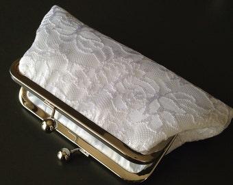 White Lace Bride Clutch