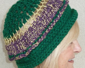 Gold and green unique Mardi Gras hat, grand hat for the Mardi Gras parade, Original and handcrafted hat, gift for her