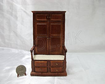 1:12 Scale Doll House Miniature Hall Tree With Robe [Finished In Walnut]