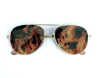 Fire Burner Flame Print Graphic Aviator Festival Sunglasses