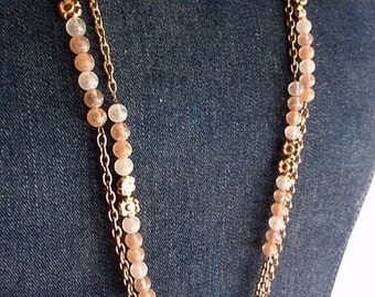 Necklace, 1980's Vintage Signed 2 Strand Goldtone Chain with Frosted  Beads