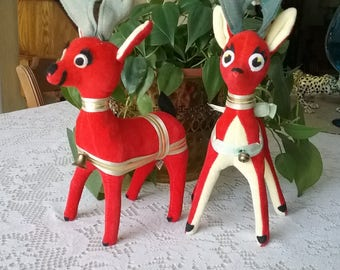 Vintage Lot of 2 Dream Pet Reindeers