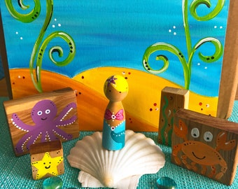Creative Educational Play - Mermaid Under the Sea - wood peg dolls - Montessori - Waldorf inspired - Instant play set -