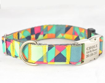 Dog Collar with Personalized Buckle, Colorful Tangram,Fabric B30