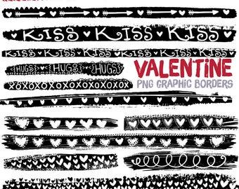 Valentine Graphic Grunge Border ClipArt, Black Dividers, Transparent PNG, Digital Ink Stamps