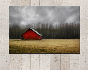 Red Barn Photography - landscape country picture, rustic, fall farm decor, gallery wrap, wall art