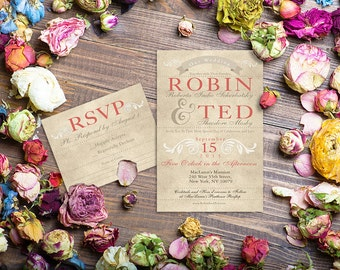Wedding Invitation Suite / PRINTED Wedding Invitations + RSVP Cards / Rustic Chic Weddings / Wedding Cards Taupe or Cream Envelopes w/ Liner