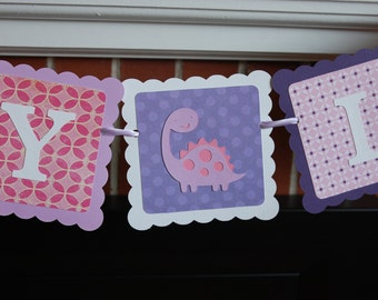 Girl Dinosaur Banner, Name and Age Banner, Dinosaur Birthday, Dino Mite, Dinosaur Birthday Banner, Pink Purples