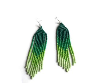 green seed bead long  earring, mothers day gift, boho earrings, Native American style jewelry, emerald earrings, bridesmaid earrings